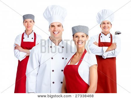 Chef-Gruppe. Kochen. isolated over white background