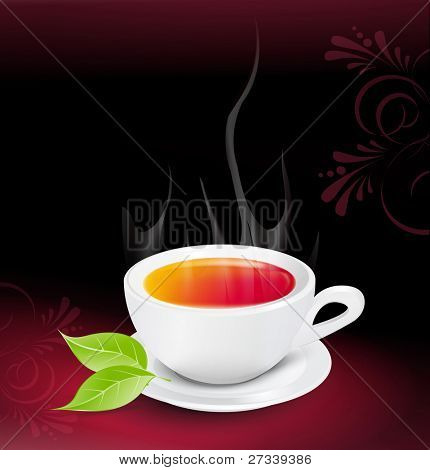white tea cup with the leaves on a dark background