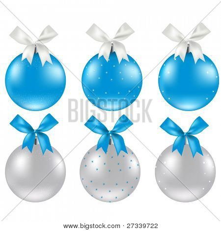 Christmas Silver And Blue Ball, Vector Illustration