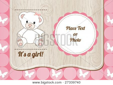 New baby girl shower card invitation