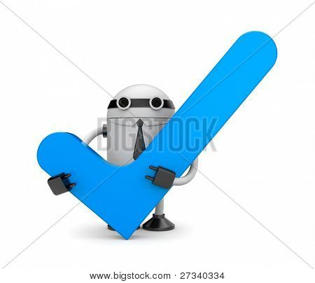 Robot with check. Image contain the clipping path