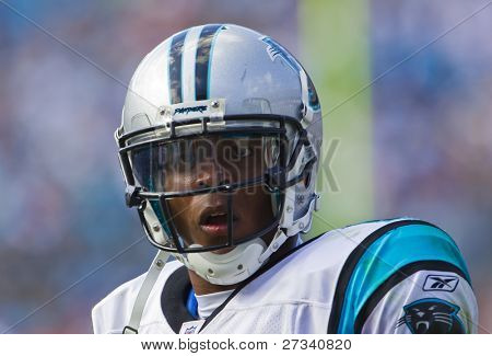 CHARLOTTE, NC - OCT 09, 2011:  Carolina Panthers Quarterback, Cam Newton, plays against the New Orleans Saints at Bank of America Stadium in Charlotte, NC on Oct 9, 2011.