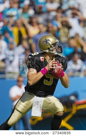CHARLOTTE, NC - OCT 09, 2011:  New Orleans Saints Quarterback, Drew Brees, plays against Carolina Panthers at Bank of America Stadium in Charlotte, NC on Oct 9, 2011.