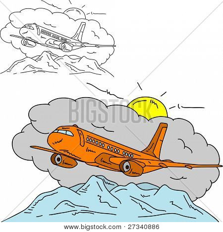 vector - Airplane over mountains , isolated on background