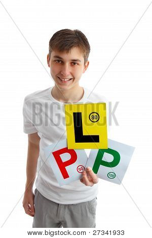 Teen Holding Magnetic Driving Licence Plates For Car