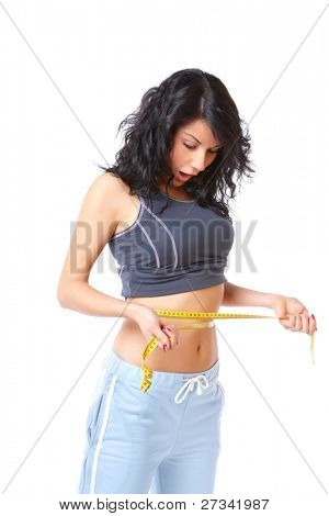 Surprised girl measuring her weist with tape, weight loss