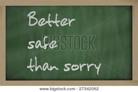 """   Better Safe Than Sorry "" Written On A Blackboard"
