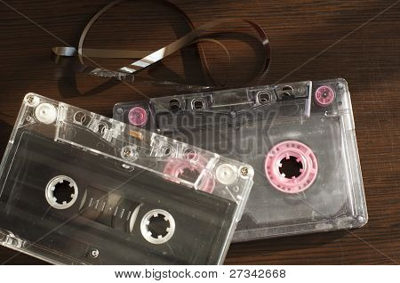 Audio Tape Cassettes With Subtracted Out Tape.