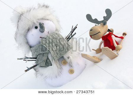 Christmas Deer And Snowman Close Up