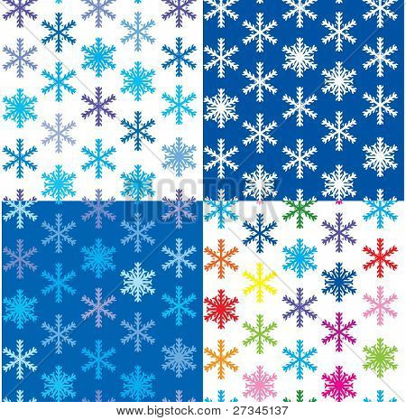 set of 4 snow backgrounds, illustration seamless pattern with different color snowflakes for