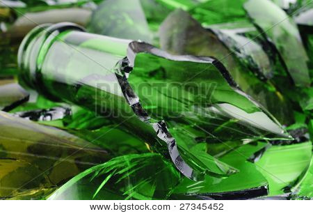 Waste Glass.recicled.shattered Green Wine Bottle