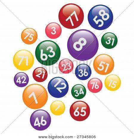 Loteria bolas com números.