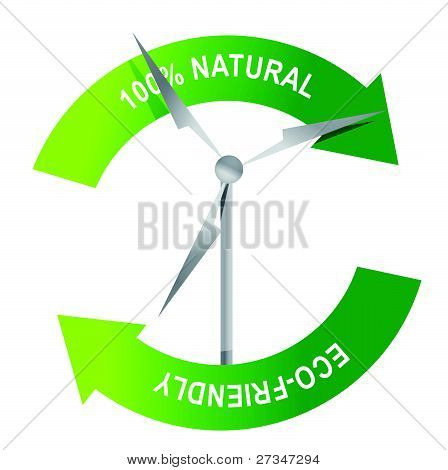 recycle wind turbine on a white background illustration design