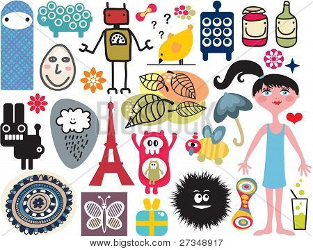 Mix of different vector images and icons. vol.14
