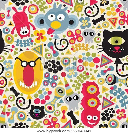 Cute monsters seamless pattern.