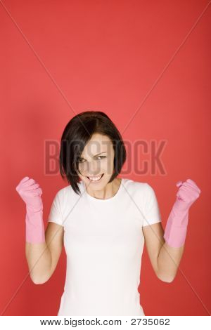 Angry Cleaning Woman