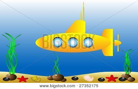 Yellow submarine under water