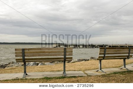 Benches On Cloudy Shore