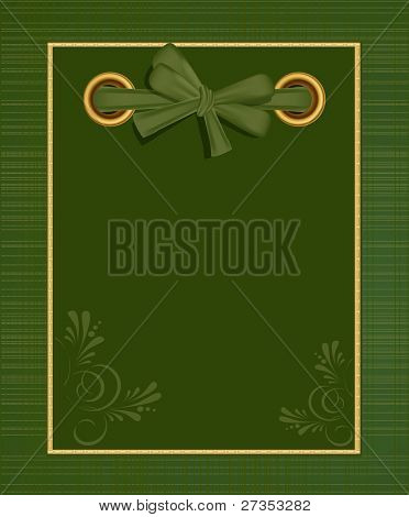 greeting green album for photos with a bow