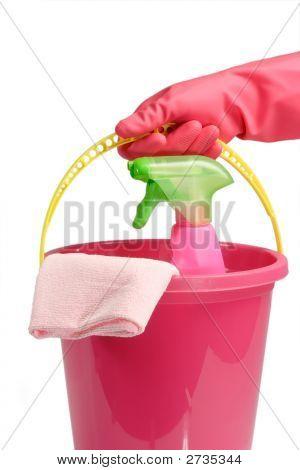 Balde com Spray de limpeza