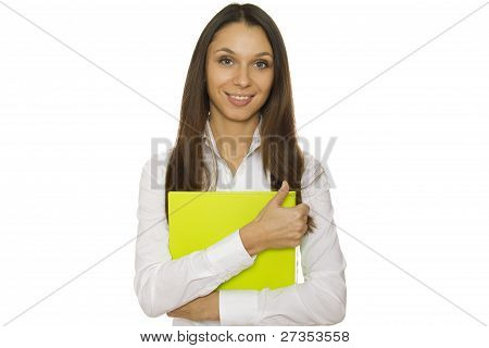 Businesswoman holding folder