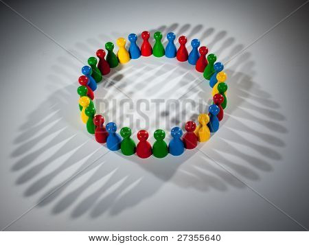 group of multi-colored people to represent social network, diversity, multi cultural society, team work togetherness