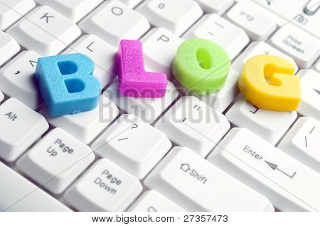 Blog word made by colorful letters on keyboard