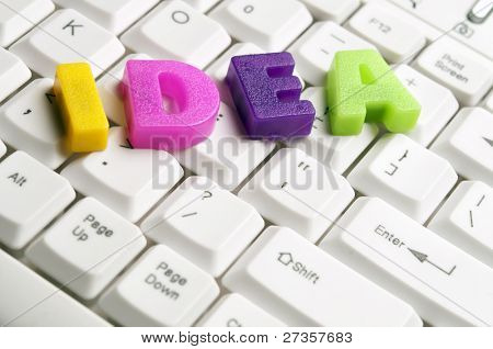 Idea word made by colorful letters on keyboard