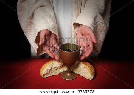 Hands Of Jesus And Communion