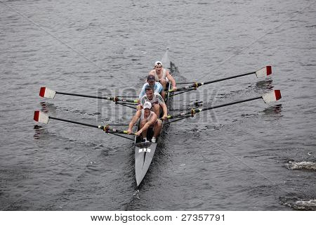 New York Athletic Club Mens Fours races in the Head of Charles Regatta