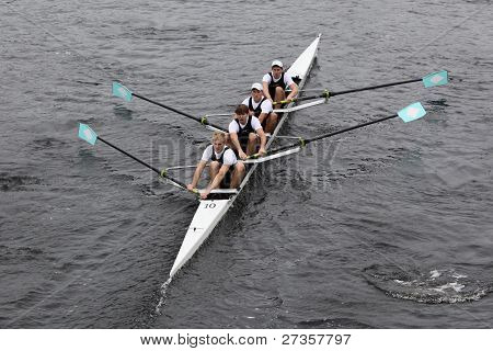 Merrimac River Rowing Association Mens Fours races in the Head of Charles Regatta