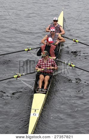 Harvard University Mens Fours races in the Head of Charles Regatta