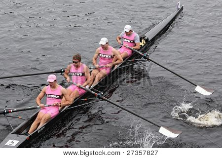 Brown University Mens Fours races in the Head of Charles Regatta