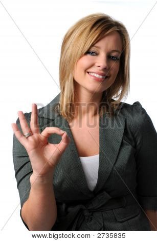 Business Woman Giving The Ok Sign