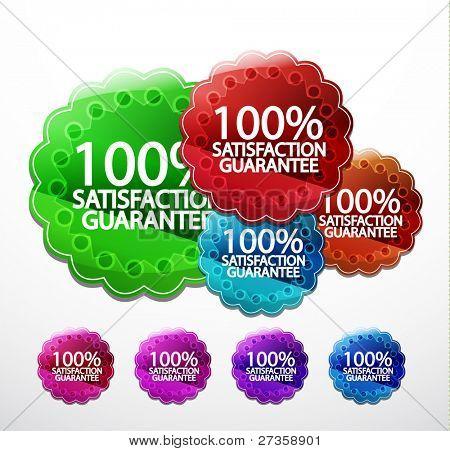 Vector glossy satisfaction guarantee stickers
