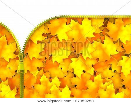 Reißverschluss mit Blättern