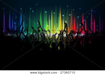 illustration of cheering crowd on spectrum of volume waves backdrop