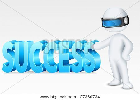 illustration of 3d man in fully scalable vector showing success