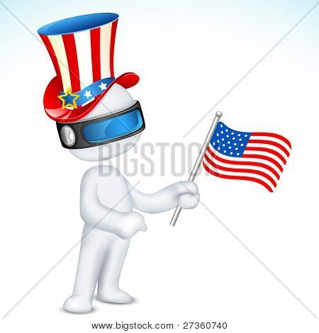 illustration of 3d man in fully scalable vector wearing hat holding american flag