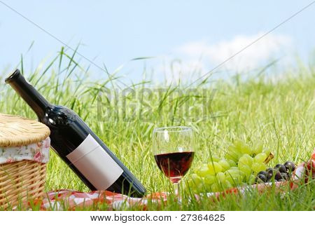 picnic setting with wine