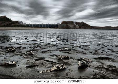 reservoir  in cloudy autumn day