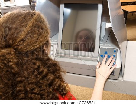 Teen Voting On Touch Screen