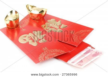 Chinese new year decoration-red envelope with money and gold ingot,isolated on white.