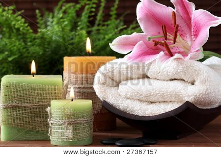 Spa still life with candles and towel