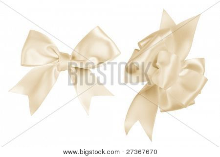 Light yellow gift bow,Isolated on white.
