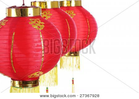 Chinese new years lanterns,Isolated on white background.