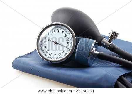 Medical sphygmomanometer,isolated on white.
