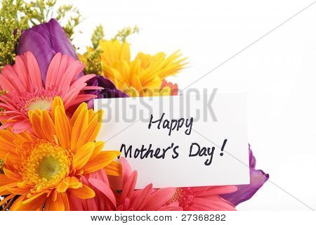Mother's Day Concept-- Post card with colorful flowers.