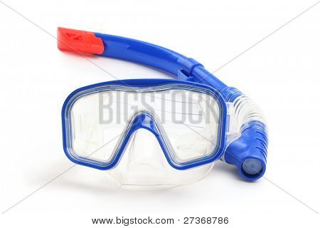 Diving equipment--Blue diving goggles and snorkel on white background.