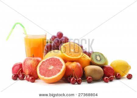 Pile of fruits with fruit juice on a white background.